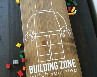 Lego building zone, kids room sign, lego sign