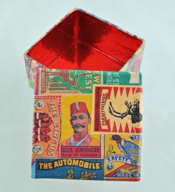 Original Handmade Gift Box Decorated With Vintage Matchbox Label Designs