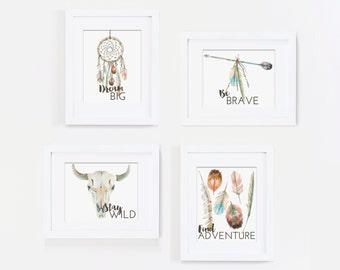 Dream Big Wall Art, Tribal Nursery Art Print, Dreamcatcher Art, Feather Art - Be Brave Quote, Stay Wild, Find Adventure - Kids Bedroom Art