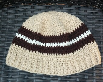 Adult brown, coffee and white crochet hat