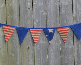 Fourth of July Burlap Banner -Red, White and blue, Fabric Flags