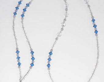 Sapphire Crystal Pearl Lanyard// ID Badge Holder