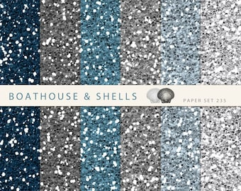 GREY to BLUE GLITTER digital scrapbooking paper pack, 6 digital scrapbook papers with glitter texture, download, printable, 235