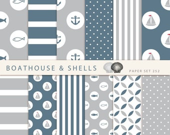 SAIL GREY & BLUE Scrapbooking digital paper pack - 12 digital papers with fish/anchor/boat print - instant download - printable - 252