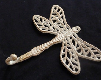Nautical Wall Hook Dragonfly Towel Hook for Bath, Beach or Lake Cottage Cast Iron