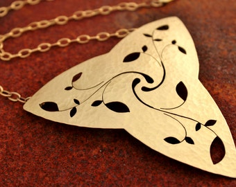 Hand Sawed Necklace Leaves Desing Medieval Jewelry Pectoral Necklace Golden Jewelry Handmade Pendant Necklace Metal Jewelry