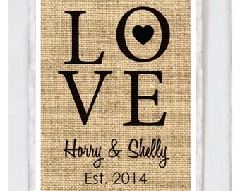 Custom Printable Couple Love Print - Burlap Design