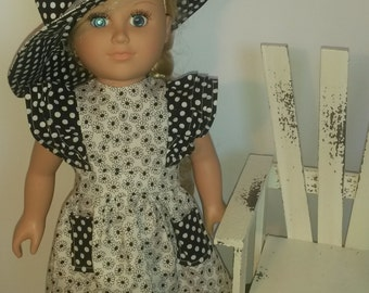 """Trendy Black and White dress with matching hat for 18"""" dolls cosplay"""