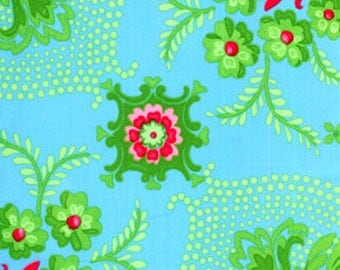 Jennifer Paganelli Pretty Please_Ann Flower Mural in Aqua OOP VHTF Free Spirit Fabric