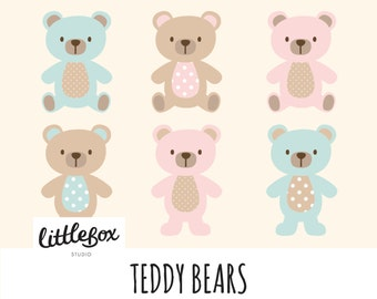 Teddy Bears Vector Clipart, instant download