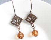 Topaz natural brass earrings, Swarovski crystals, topaz earrings, natural brass, Swarovski earrings, 2 inches long, brass earrings