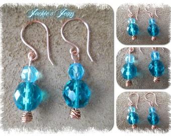 Czech Crystal Copper Earrings
