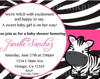 Digital Zebra Themed Baby Shower Invitation