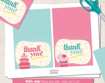 INSTANT DOWNLOAD Bake Shop Thank You Notes