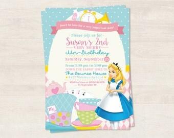 Personalized Pink Alice in Wonderland invitation (digital file)