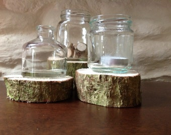 A set of 3 Wood Slice Wedding Centrepieces.