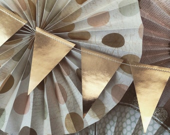 Gold Holiday Garland, Christmas or New Year Pennant Banner, Gold Foil TRP006 | Triangle Banner | Birthday Party Banner | Baby Shower Bunting