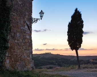 Sunset Over Tuscany, Tuscan Countryside, Italy, Rustic, Farmhouse, Val d'Orcia - Travel Photography, Print, Wall Art