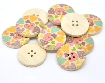 Multi Coloured Heart Design Wooden Buttons 30mm.  Sewing Knitting Scrapbook and other craft projects