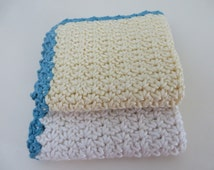 Crocheted WashCloths/FaceCloths/Flannels Egyptian Cotton Set of TWO Yellow & Cream with Teal Border - Baby, Toddler, Family, Resuable Wipes