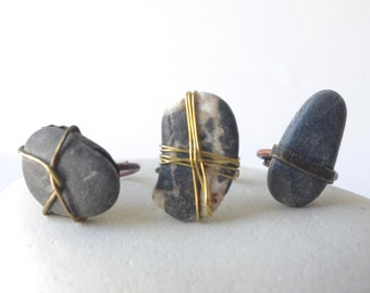 rock ring, unique summer rock ring, summer trends ring, pebble ring