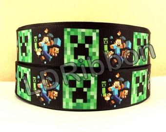 "1"" Pixel Man Grosgrain Ribbon"