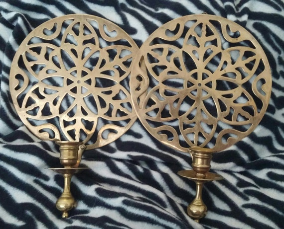 A Set of Two Gorgeous Vintage Round Brass Candle Holder Wall