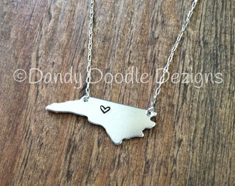 Home is where the Heart is. Hand stamped NC necklace