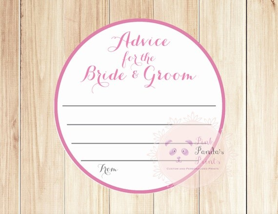 Advice For The Bride And Groom Wedding Advice Cards Guest