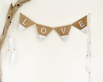 Bohemian Love Boho Bunting Garland Feathers Words Dipped Painted White Hessian Burlap Home Decorations Handmade in Australia JDog & T
