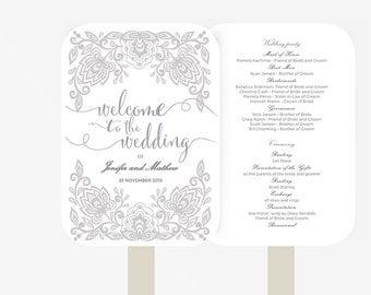 Wedding Fan Program Template | Printable Instant Download  | DIY | lace silver / grey