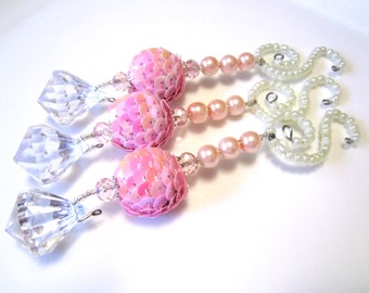 Beaded Christmas Diamond Dangle Ornaments with Pink Sequin Beads, Pearls and Glass Beads - 3 Christmas Decorations