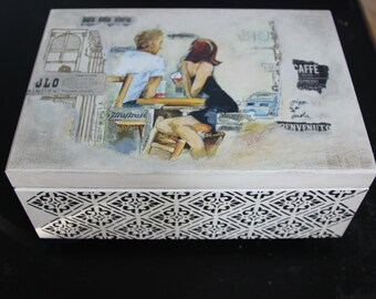 Wooden jewelry box,storage box, decoupage box,  black, off white, 3D ornamentt