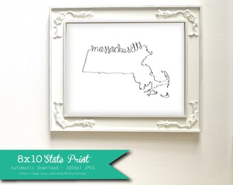 Printable Massachusetts State Art Print 8x10 Digital Wall Art Gift