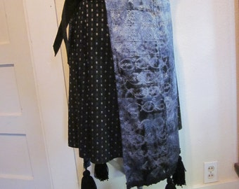 Belly dance, black and silver, panel skirts, tassels, handmade, one of a kind. Ties on sides.