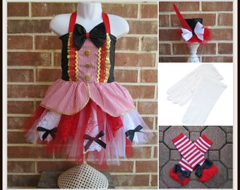 Boutique custom handmade pageant girls Circus Clown Ringmaster Lion tamer tutu and top costume, carnival tutu, circus outfit