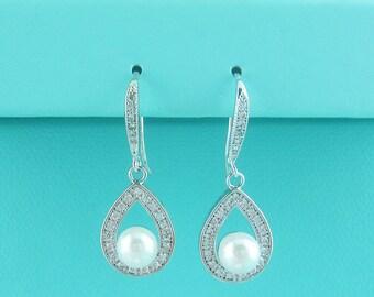 Sparkle cz earrings, pearl bridal earrings, cubic zirconia earrings, wedding jewelry, wedding earrings, bridal earrings, 235934792