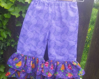 Cute girly ruffle pants, Trousers, Capri pants, age 18-24 months to 3-4yrs, Turtles, Purple swirls, Ruffles