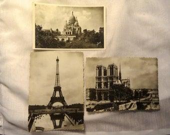 Three Unused 1950's YVON Landmark Postcards of Paris