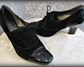 Black dress shoes, Black pumps, High heels, Women's leather shoes, Size 8 heels, Loafers with heels, Women's wingtip style shoe