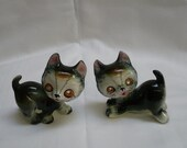 Cat figurines with rhinestone eyes mid century made in Japan