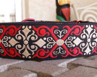"1 1/2"" Red Scroll Collar Medium or Large"