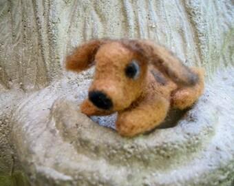 Needle Felted Dog, Tiny Handmade Wool Puppy