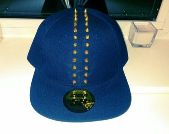 Navy and gold spiked Mohawk Snapback
