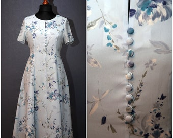 Vintage sky blue flowery dress with short sleeve / Size M / 70s
