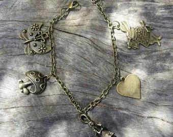 Alice in Wonderland inspired bronze charm bracelet