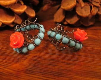 Wire wrapped turquoise & rose earrings