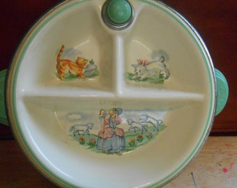 Child Warmer Dish, Baby Divided Food Warmer Bowl, Kids Porcelain and Metal Dish, Little Bo Peep Dish, Childrens Bakelite Dish
