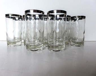 "Set of 11 Mid Century Modern Silver Rim Glassware 2.5""W X 4.75"""