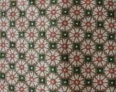 "Vintage 7.5 Yards x 46"" Wide Folk Art Daisy Floral Pattern Barkcloth Fabric in Mustard, Green, Cream & Peach Colors"
